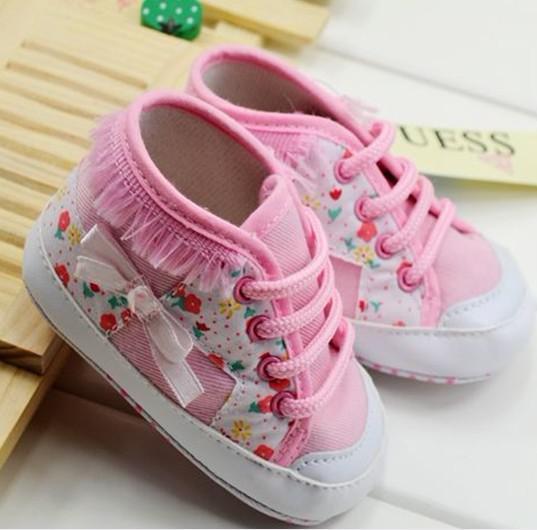 Atacado bonito do bebê meninas berço sapatos flor curta criança sapatos infantis fundo macio 10 par Q11