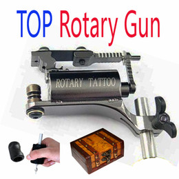 Wholesale Tattoo Supplies Grips - HOT! Latest Rotary Tattoo Machine Gun With Silicone Grip Jacket & Wooden Gun Box Freely Kits Supply