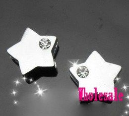 Wholesale Diy 8mm Star Slide Charms - 50pcs lot 8mm One Rhinestone Alloy Star Slide Charms Fit For Pet Collar Necklace Wristband DIY Accessories