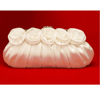 Wholesale Crystal Rose Evening Handbag - Free Shipping fashion same as picture crystal Rose Decoration Blossom bridal wedding pleated satin handbag evening handbag