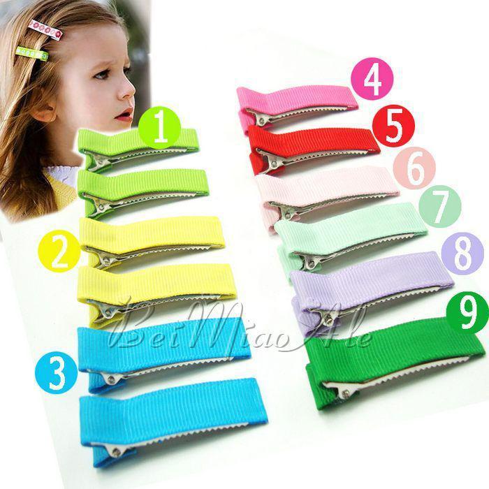 50 unidades de cinta nuevo single diente forrado cocodrilo pinzas de pelo del clip clips alineados en fila para niños Accesorios para el cabello