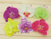 Wholesale Wholesale Hawaii Flowers Hair Clips - Orchid Artificial Flower Hair clips Bridal Hawaii Party Girl fascinator hair accessories wholesale