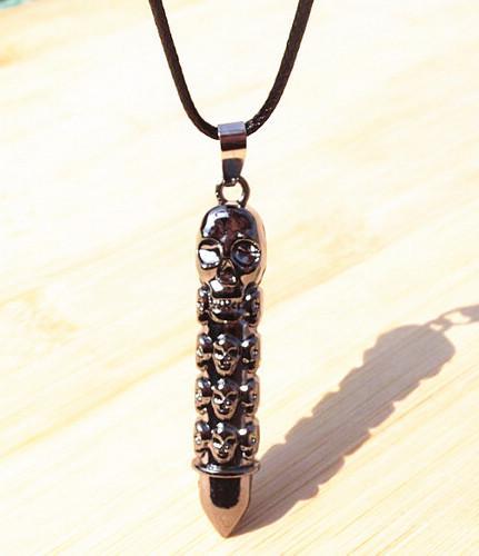Nouvelle Arrivée En Cuir Cordon Titanium Acier Inoxydable Bullet Crâne Pendentif Colliers Hommes bijoux 24pcs