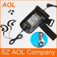 Wholesale Mp4 Leather Case - Waterproof Case Skin Dry Bag Pouch + Earphones for Cell Phone MP3 MP4 2G 3G 3S 4G 10pcs
