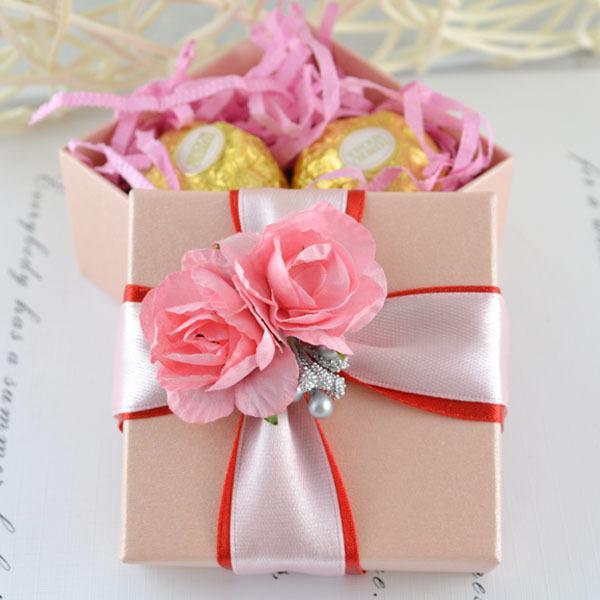 100 PC 리본 꽃 장식 분홍색 사각형 상자 결혼식 호의 선물 보석 상자