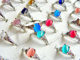 Wholesale Gemstone Cat - Rings Jewelry Charm Natural Cat eye stone gemstone Silver P Ring Fashion Jewelry 100pcs Not Include Box