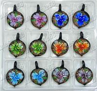 Wholesale Peach Glass Bead Necklace - Pendants necklaces Beads Heart Flower Peach Murano Glass Pendant necklaces 24pcs 33*33mm