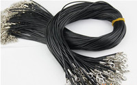 leather black Strands Chains Braided Rope necklace cord with...