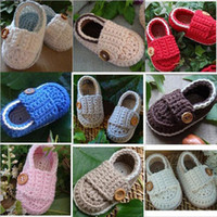 Wholesale Crochet Double Sole Baby Shoes - Baby crochet shoes first walker shoes double sole 0-12M 12pairs(24pcs) cotton yarn custom Baby Crib Shoes Baptism Shoes Footwear
