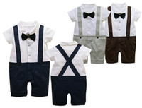 Wholesale Baby Navy Tie - Baby Boy White Bow Tie Button Shirt+Blue Navy Toursers Toddlers Children Summer Outfit Sets Kids