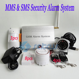 Wholesale Mms Sms Gsm Wireless - DHL Shipping ~MMS DVR GSM Burglar Security Alarm System With MMS & SMS Motion Detect IR Camera SC-205