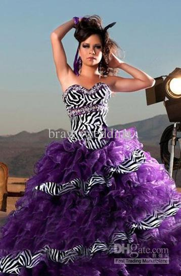 Purple zebra quinceanera dress wedding dresses ball gowns for Zebra print wedding dress