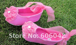 Wholesale Ballet Flats Toddlers - 6pairs lot special occasion hot pink Christening soft ballet flats infant toddler baby girl shoes