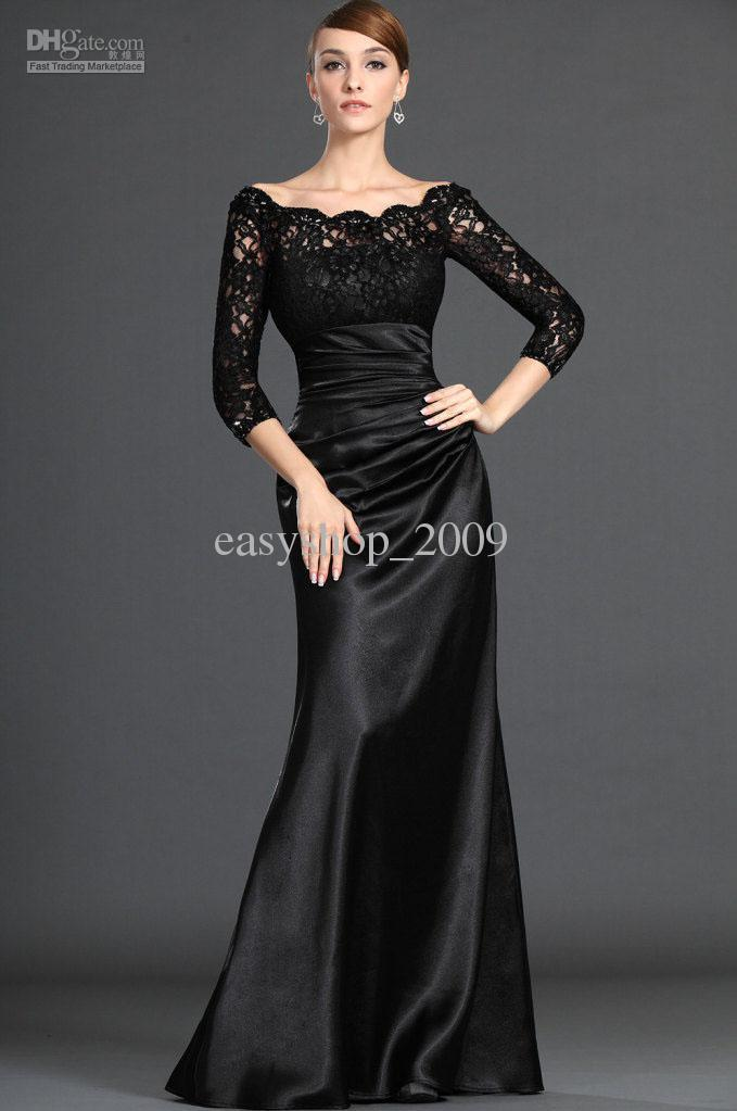 Black Lace Long Sleeve Satin Wedding Dress Floor Length Bridal Gown ...