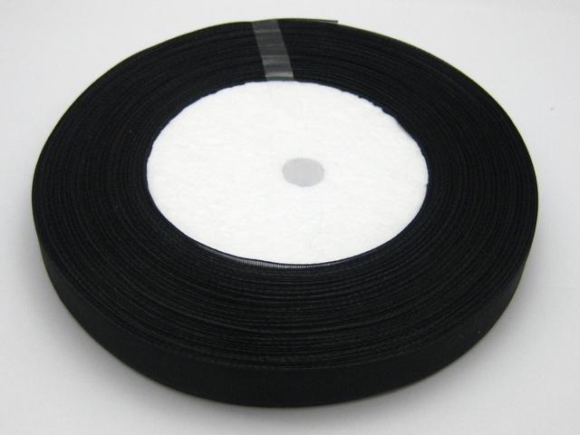10 Rolls 1cm cor preta Organza Ribbon Nupcial Decoração Edge Gift Jóias 1 Roll 50yds