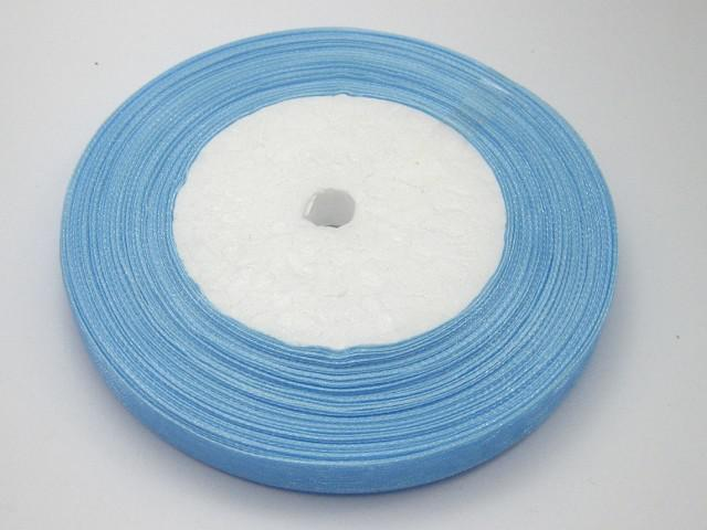 10 Rollos de color azul claro Cinta de organza 1cm de ancho Decoración nupcial Edge Gift Jewelry 1 rollo 50yds