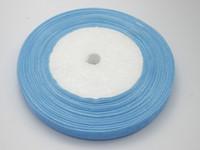 Wholesale Width 1cm - 10 Rolls Light Blue color Organza Ribbon 1cm width Bridal Decor Edge Gift Jewelry (1 Roll 50yds)