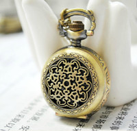 Wholesale Clock Locket Necklaces - (Mixture model) 50pcs vintage bronze Necklace locket Pocket Watch chain for mini small clock lady