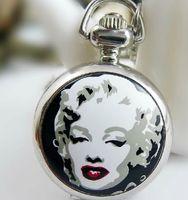 Wholesale Monroe Necklace - (Mixture model) SEXY Marilyn Monroe Necklace Pendant Pocket Watch Ladies Men's Watches