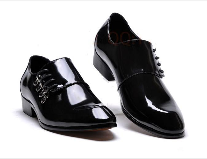 Lowest Price MenS Black Shine Wedding Shoes Prom Leather