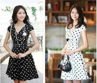Wholesale Lace Pocket Womens Shorts - Womens dress size S-XL fashion slim V neck dot printed dress evening dress Party dress 8806