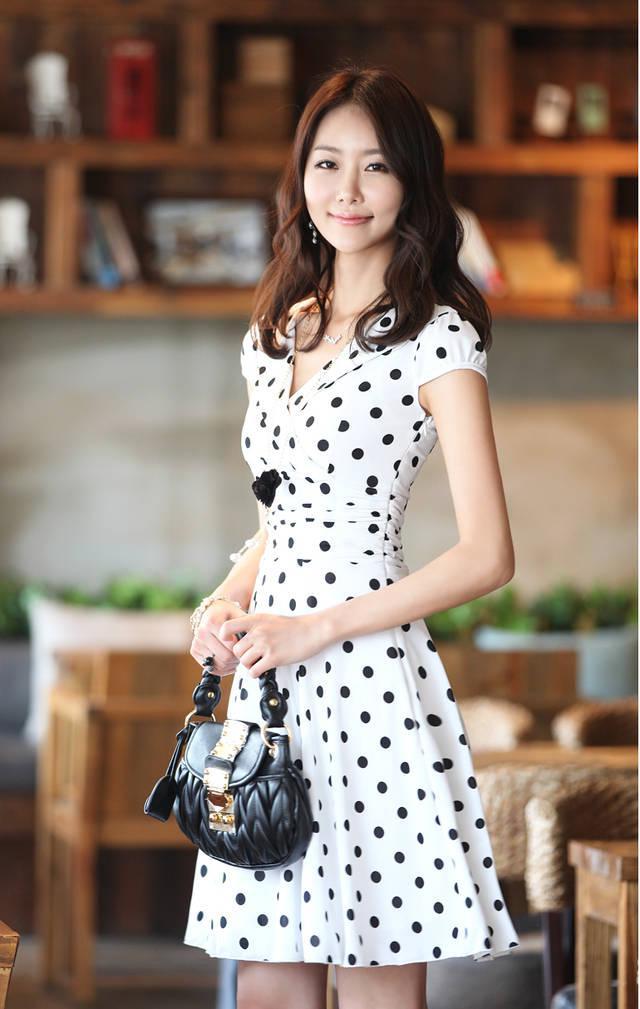Vestido para mujer talla S-XL moda delgado cuello en V vestido estampado vestido de noche vestido de fiesta 8806