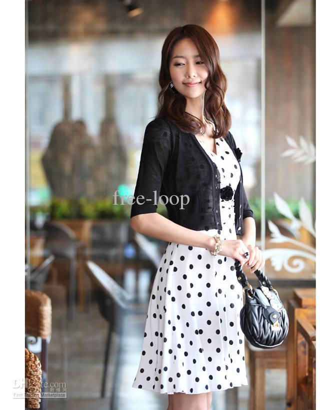 여자 드레스 크기 S - XL 패션 슬림 V 넥 도트 인쇄 이브닝 드레스 파티 드레스 8806