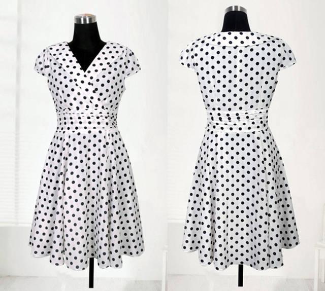 Womens tamanho do vestido S-XL moda magro decote em V dot impresso vestido vestido de noite vestido de festa 8806