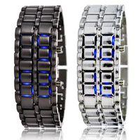 Wholesale Iron Samurai Led Watch Silver - Blue red LED Lava Watch mens sport digital Japanese Samurai Iron stainless womens wristWatches men