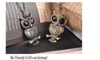 Wholesale Wholesale Sweaters China - New arrival !! retro owl necklace sweater chain real animal chain necklace jewelry free shipping