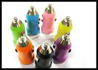 Wholesale iphone4 chargers - 1000X Bullet Mini USB Car Charger Adapter Universal for PDA MP3 MP4 Mobile Phone Iphone4 Colorful