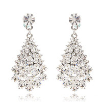 Wholesale Dangling Clear Rhinestone Earrings - CRYSTAL DANGLE EARRINGS 18k gold plating BA-136 clear white pink purple brown gold white blue