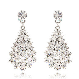 Wholesale Chandelier Pink - CRYSTAL DANGLE EARRINGS 18k gold plating BA-136 clear white pink purple brown gold white blue