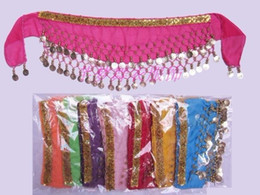 Wholesale Belly Dance Coin Scarfs - Kids Belly Dance Coin Belt Hip Scarf Skirt Wrap Girls Bollywood Dancing Costume