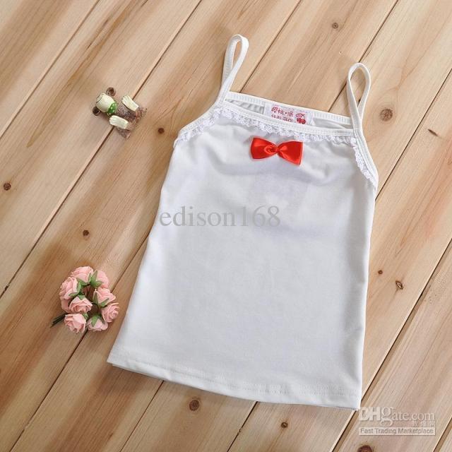 Neue Sommermädchen-Spitze Bowknot Sonneober Weste sleeveless T-Shirt Kinder Kind underwaist Tank-Top SZ44