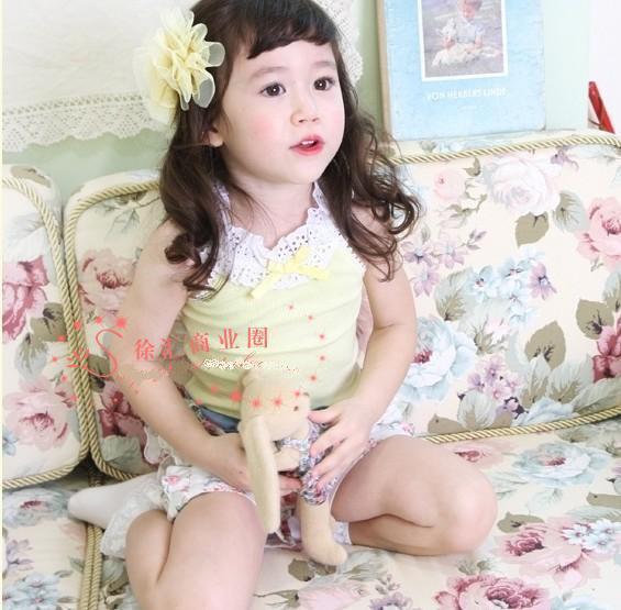 muchachas del verano del bowknot cuello erizadas princesa sol-tapa del chaleco de la camiseta sin mangas underwaist SZ45