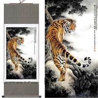 шелковые картины оптовых-Китайский шелк картины Тигр висит свиток украшения искусства для продажи 1 шт. бесплатно