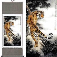 Wholesale art panels for sale online - Chinese Silk Paintings Tiger Hanging Scroll Decoration Art For Sale Free