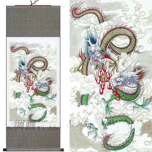 2018 chinese dragon painting silk art scroll size l40 x w 12 inch