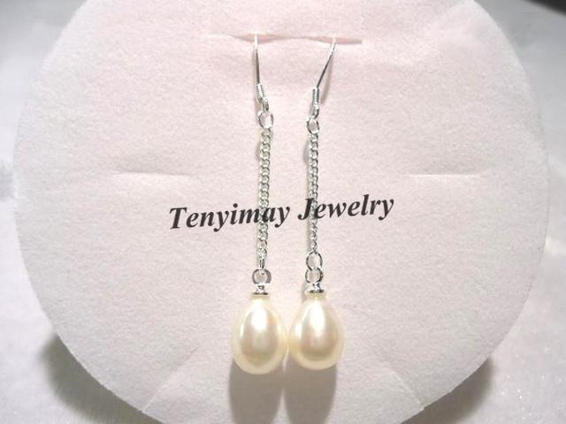 Echte Perlen-Ohrring-natürliche Frischwasserperle Eardrops mit der Silber überzogenen Kette, Silber 925 überzogene Haken Freies Verschiffen