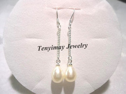 Wholesale Hook Freshwater Pearl Earring - Genuine Pearl Earrings Natural Freshwater Pearl Eardrops With Silver Plated Chain, 925 Silver Plated Hooks Free Shipping