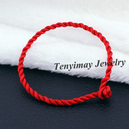 Wholesale Chinese Red Bracelet - Twisted Cotton Bracelets Wholesale 50pcs Cheap Red, Black Chinese Lucky Bracelet Free Shipping