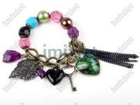 Wholesale Plastic Colored Beads - Bohemia Style 2X Lovely Heart Peacock Leaf Key Colored Pearl Beads Bracelet Imixlot Bracelet [B04*2]