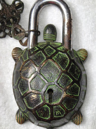 Rare Chinese old style big brass Carved tortoise turtle lock with 2 keys#133