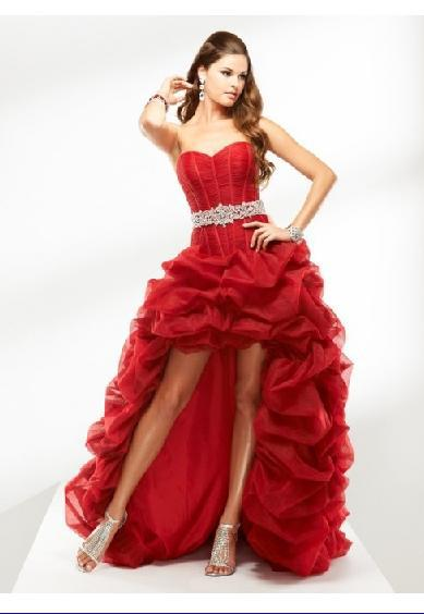 Red Strapless Sweetheart Neckline Tulle Hi Lo Prom Dress Woman Dress ...