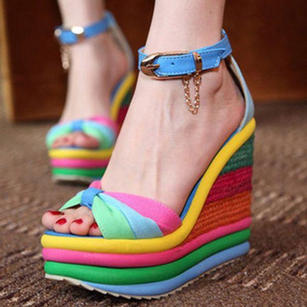 best selling 2012-5 Blue Orange Peep-Toe Summer Rainbow Stripes High Platform Wedges 3 Colors