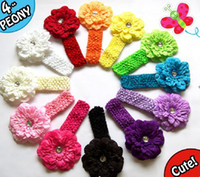 "Wholesale Crochet Flower Clips Wholesale - 12 stes   lot Crochet headbands with Peony Flower Clip BABY Girls 1.5"" Hair Headband mix 12 color"