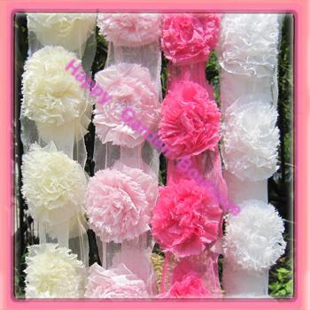 Venta al por mayor - 6 yardas / lote 4 colores para su elección 3 '' flores de encaje de gasa Envío Gratis