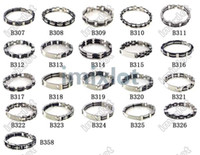 Wholesale Stainless Steel Bracelet Wholesale - 21pcs Wholesale Chain Mens Stainless Steel Rubbler Bracelet Bangle Imixlot Bangle cuff Jewelry Free Ship [B307-B326 B358*1]