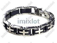 """Wholesale Rubber Cross Bracelets - Men's 8.5"""" Stainless Steel Black Rubber Bracelet Cross Bangle Link Imixlot Jewelry [B358*2]"""